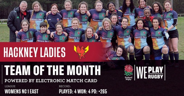 Hackney Ladies named RFU team of the month!!